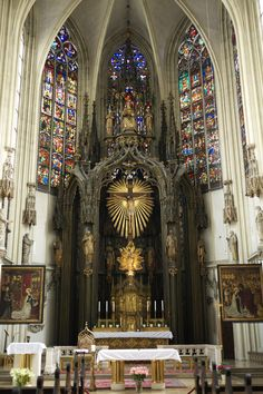 Sanctuary of Maria am Gestade (Saint Mary on the Shore), one of the oldest Gothic churches in the Inner Stadt (Inner City) of Vienna, Austria. The church owes its appellation for being built near the Danube Channel.