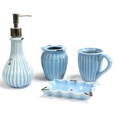 Vintage Bath Set - Powder BlueOur Four Piece Vintage Bath Set - Powder Blue can transform an everyday bathroom into a safe haven for relaxation. This eye-catching set comes nicely packed in a Gift Boxes.Contains: Liquid Soap / Potion Dispenser x . Vintage Bathroom Accessories, Toilet Accessories, Bad Set, Blue Shabby Chic, Ceramic Soap Dish, Soap Dishes, Relaxing Bath, Stone Coasters, Shop Interiors