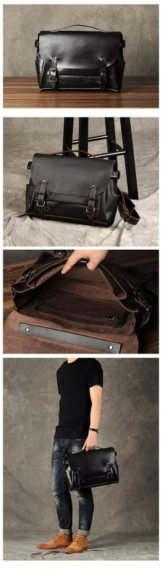 LEATHER CROSSBODY SHOULDER BAG,HANDMADE LEATHER BRIEFCASE,LAPTOP BRIEFCASE GZ005