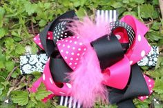 Boutique 6 inch pink and black feather bow by LalalaBoutique, $11.99