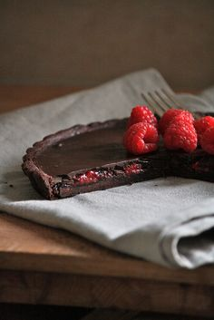 Serious food porn here.  Tarte with chocolate raspberry surprise.