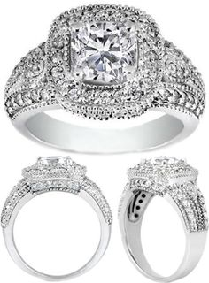 Cushion Diamond Halo Engagement Ring 0.60 tcw. In 14K White Gold