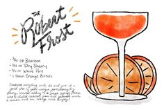 The Robert Frost Cocktail Recipe Card Shauna Lynn Illustration OSBP