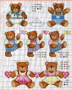 Ricamo e schemi a puntocroce gratuiti: Raccolta di schemi a punto croce per bambini a tema orsetti