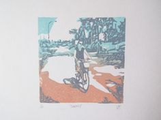 Travels £20.00 Hand printed lino print using oil based ink.
