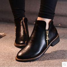 Barato 2014 outono inverno mulheres botas ankle boots calcanhar plana lado zip martin botas mulheres sapatos baixos botas de marca, Compro Qualidade Botas - Feminino diretamente de fornecedores da China: 2014 outono inverno mulheres botas ankle boots apartamento zip lado calcanhar martin botas mulheres marca sapatos rasos