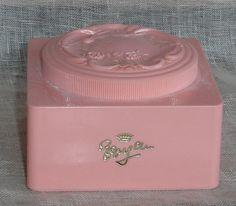powder box pink vintage with puff vanity beauty pampering. $14.00, via Etsy.