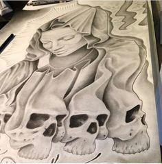 Tattoo Ideas, Tattoo Designs, Chicano Art, West Texas, Thug Life, Metalhead, Tattoo Sketches, Skulls, Coloring Pages