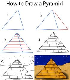 CC Week 5 Art Cycle How to Draw a Pyramid Step by Step Drawing Tutorial with Pictures Ancient Egypt Activities, Ancient Egypt For Kids, Ancient Egypt Crafts, Ancient Egypt Lessons, Ancient Aliens, Ancient Greece, Ancient History, Egyptian Drawings, Egyptian Art