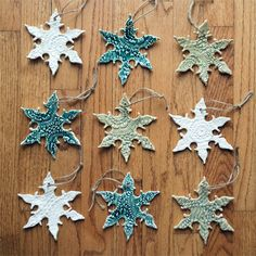 DIY Lace Snowflake Ornaments