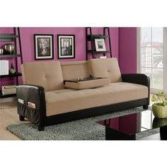 DHP Holden Cupholder Futon Sofa Bed with Magazine Storage