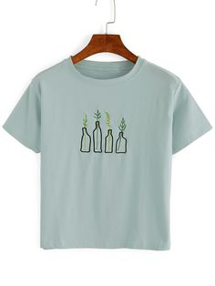 Green Green Shirt Shirt Plant T Plant Plant Green Embroidered T Embroidered Embroidered XrqErf