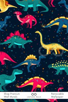 If you are planning to decorate the wall of your kids' room with wallpaper, this colorful dinosaur wallpaper design is adorable! Shop now at Limitless Walls. Wallpaper Designs, Kids Wallpaper, Wall Wallpaper, Designer Wallpaper, Wall Design, Print Design, Dinosaur Background, Childrens Wall Murals, Special Wallpaper