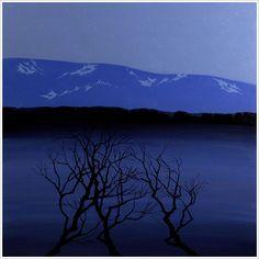 Stjernenatt av Eva Harr (Olje på lerret) Landscapes, Scenery, Artists, Fine Art, Mountains, Random, Beach, Nature, Travel