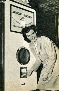 "A 1947 vending machine which only sold wieners called the ""SPEEDY WEENY"" Weird Vintage, Vintage Ads, Vintage Stuff, Vintage Newspaper, Funny Vintage, Vintage Grunge, Retro Ads, Vintage Advertisements, Vintage Photographs"