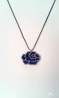 BEADS and GEMS by LPL - Pendant blue rose - brick stitch - 9/o seed beads - in blue and silver colour. Macrame cord 50mm in blue colour.