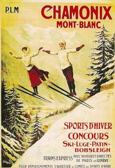 Vintage 1962 World Skiing Championships Chamonix Mont Blanc Poster Print A3//A4