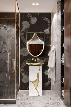 The usage of patterned panels in one's bathroom is a way to make it seem majestic, out of a royal tale of misadventures with plenty of gold and jewels in the mix! Koi, Mirror Shapes, Modern Bathroom Design, Best Interior Design, Standing Mirror, Unique Furniture, Bathroom Furniture, Amazing Bathrooms, Bathroom Inspiration