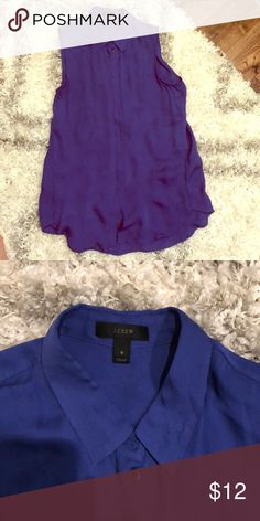 Great condition JCrew cobalt blue silk blouse! This blouse would be a great addition to your work wardrobe or to wear under a blazer all year round. Great condition - two deodorant stains that will come out with dry cleaning. 100% silk. J. Crew Tops Blouses