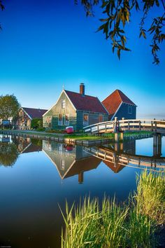 The village of Zaanse Schans a short day trip from Amsterdam The Netherlands by Nathalie Straver. Relax with this nature photo. #Relax more with this #free #music with #BinauralBeats that can #heal you. #landscaping #LandscapingIdeas #landscapeDesign