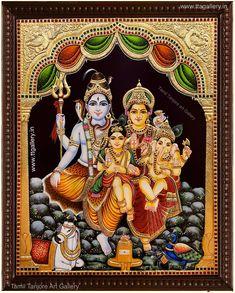 Original hand made tanjore paintings Lord Rama Images, Lord Shiva Hd Images, Arte Shiva, Shiva Parvati Images, Shiva Shakti, Online Art Store, Lord Shiva Family, Lord Shiva Painting, God Pictures