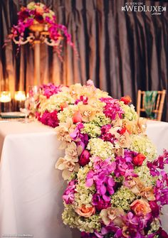 WedLuxe: floral arrangement created by The Flower Factory #wedding #decor