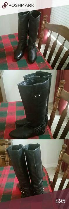 Rebecca minkoff leather quality riding boots 6M Great pair of leather quality stylish riding boots that are timeless.  These will be a perfect wardrobe addition. Boots make a fashion statement Rebecca Minkoff Shoes Combat & Moto Boots