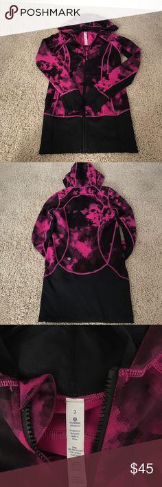 Lululemon Jacket•• Pink and Black•• Size 2 Lululemon tie-dye jacket••Like-New Condition••No trades lululemon athletica Jackets & Coats