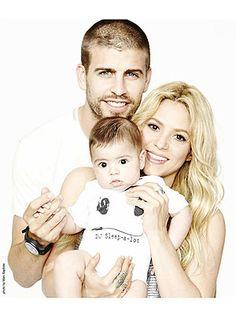 Gerard Piqué Poses with Son Milan and partner, Shakira
