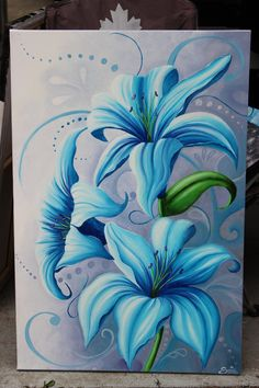 """""""Blue lilies"""" Oil painting by Suzanne Rivard, an Vancouver Island artist. Lily Painting, Flower Painting Canvas, Spring Painting, Fabric Painting, Canvas Art, Blue Lilies, Lilies Drawing, Indian Art Gallery, Mural Art"""