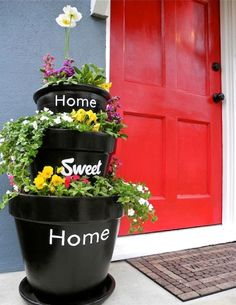 Stacked Planters With Inscriptions For Your Home | Shelterness