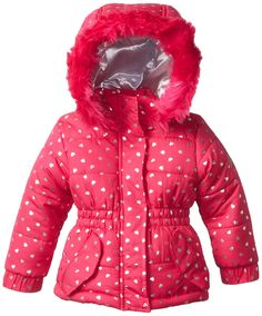 Weatherproof Baby Girls' Pongee Puffer Jacket with Silver Foil Hearts >>> Remarkable product available now. : Baby clothes