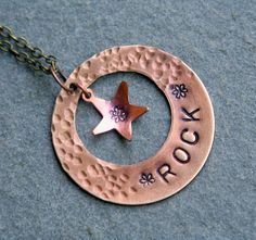 Necklaces Stamped brass ring ROCK with copper by debsdesigns401, $18.00