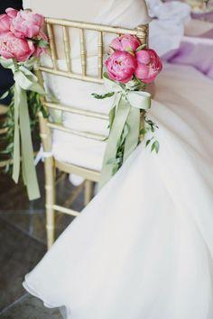 Pink Peonies Chair Decor for Bride | http://emmalinebride.com/ceremony/peony-aisle-decor/ | photo: christina szczupak