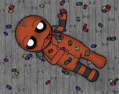 """I Has a Problem"" - an Unluckable has a problem of stuffing himself with his favorite candy skellies. #unluckables #unlucky #luckycharm #monster #monsterart #creature #creatureart #voodoodoll #voodoo #creepycute #creepycuteart #kristiesilva #candy #skulls #lowbrow #lowbrowart #bigeyes #bigeyeart #bigeyedart #digitalpainting #digitalart #digital #art #painting #artist #artwork"