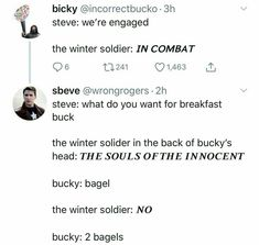 A bagel NO two bagels Funny Marvel Memes, Avengers Memes, Marvel Jokes, Marvel Dc Comics, Marvel Avengers, Dc Movies, Marvel Actors, Stucky, Bucky Barnes