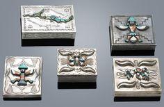 Five Navajo and Zuni silver and inlay boxes