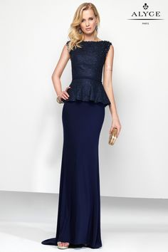 Long jersey dress with a laced peplum top, small keyhole on the upper back and…