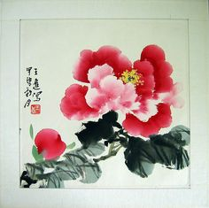 Chinese flower paintings - Red Peony