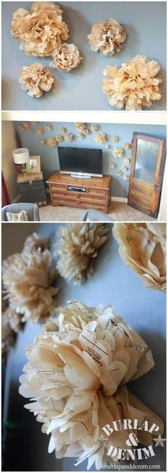 Feature Wall Friday: Sewing Pattern Tissue Flower Wall