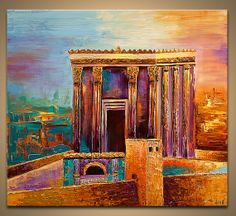 Jerusalem City Painting Beit Hamikdash Painting by OsnatFineArt, $900.00