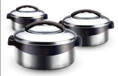 http://yummycakedecorating.com/milton-regent-3-piece-keep-warmcold-insulated-casserole-set/ Milton - Keep Warm Stainless Steel Casserole - Insulated Keeps Food Warm Or Cold For Hours. Excellent Gift Idea.The handles of this set comes in either black or grey color.