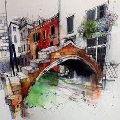 Ponte de chiodo #venice #canal #usk #urbansketcher #citysketch #cityscape #archisketcher #architecturefactor #art_empire #drawing #pensketch #sketchbook #italy #creative #artsanity