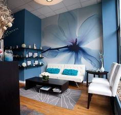 Salon and spa decor ideas magnolia blue mural waiting area for salon a spa . salon and spa decor Waiting Room Decor, Waiting Room Design, Office Waiting Rooms, Spa Interior, Salon Interior Design, Salon Waiting Area, Salon Wallpaper, Salon Reception Area, Spa Rooms