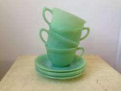Anchor Hocking FireKing jadeite Jane Ray cups and by nddevens, $70.00