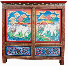 Hand Painted Tibetan Cabinet   Tibetan Buddhist Art Furniture U0026 Antiques  From The Monasteries Of The