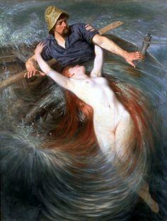 """The Fisherman and the Siren,"" Knut Ekvall (1843 – 1912, Swedish)"