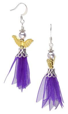 """Earrings with Gold-Plated """"Pewter"""" Beads, SWAROVSKI ELEMENTS and Organza Ribbonbead cap for 9-11mm bead w the ribbon but not the angel topping. tiny seed beads on end of ribbons?"""