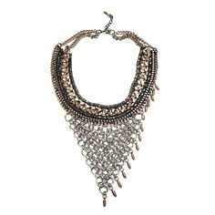 Steel linked chainmaille, mixed metal woven collar and asymmetric tiny vintage brass spike fringe. One of a kind.