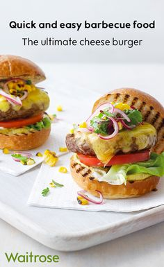 British beef burgers served with melted smoked Cheddar cheese and a refreshing sweetcorn salsa – our recipe creates the ultimate burger for barbecue season. Tip: for extra flavour in your BBQ burger, add a crispy rasher of bacon. See the recipe on the Wai Barbecue Recipes, Grilling Recipes, Diet Recipes, Healthy Recipes, Healthy Foods, Weeknight Recipes, Cheap Recipes, Healthy Cooking, Healthy Eating